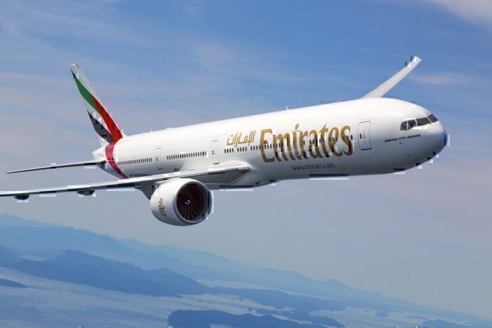 Emirates B777 in flight
