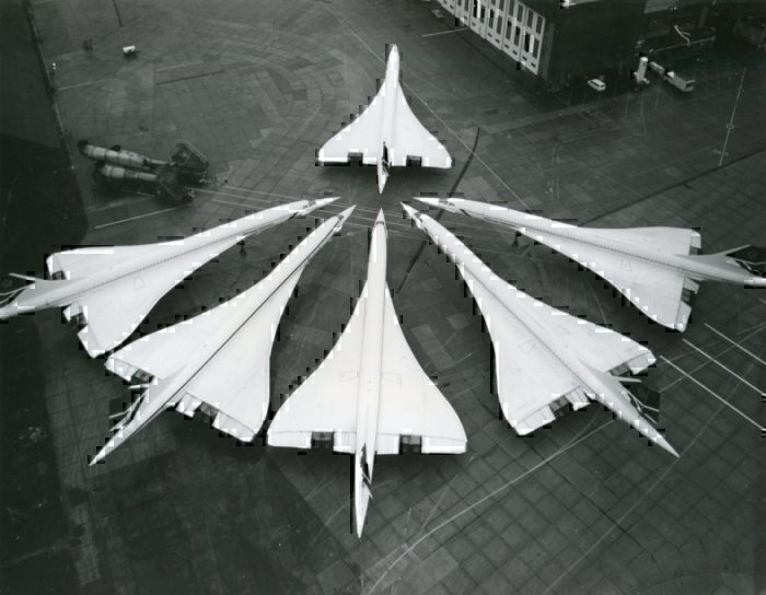 Six British Airways Concorde aircraft