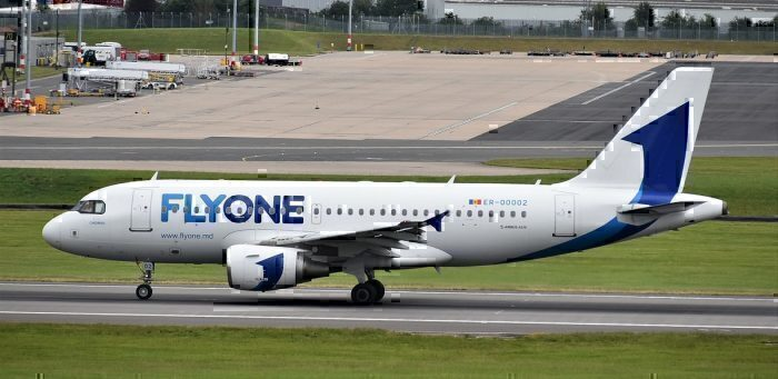 FlyOne jet on taxiway