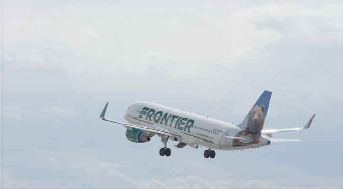 Frontier Airlines jet take-off
