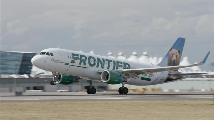 Frontier jet landing