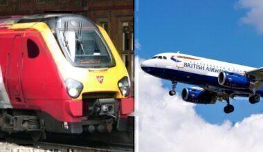 virgin train british airways plane
