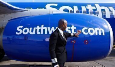 Pilot in front of southwest airlines jet