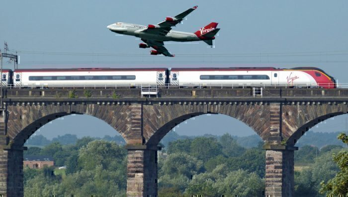 Virgin plane and train