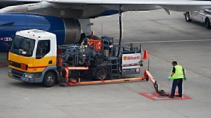 A jet refuelling truck