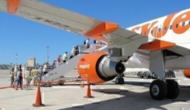 Boarding Easyjet A319-100 (G-EZAV) at Palma Airport, Majorca, for the flight to Bristol, England.