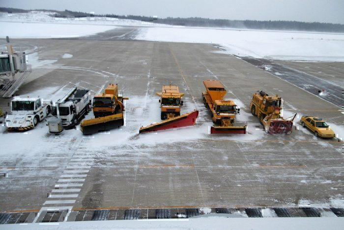 Snow removal vehicles at Odate-Noshiro Airpor