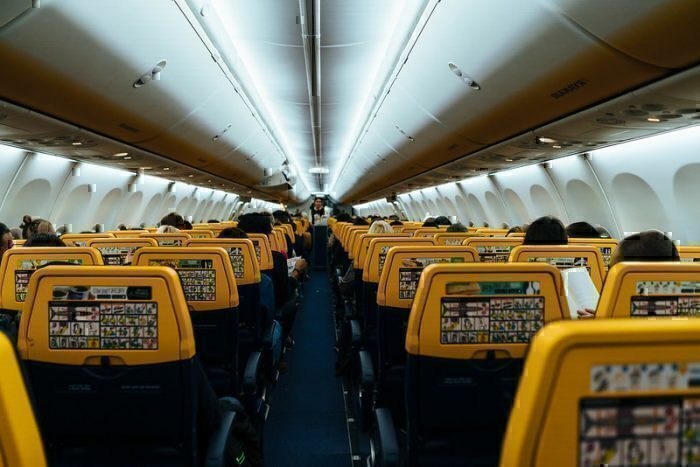 Inside a ryanair plane