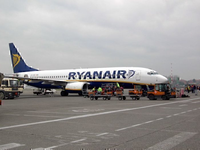 Ryanair plane with baggage carts