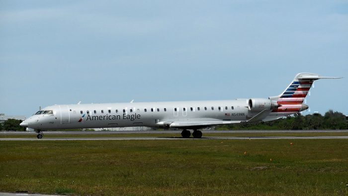 American Eagle Bombardier CRJ900 on runway