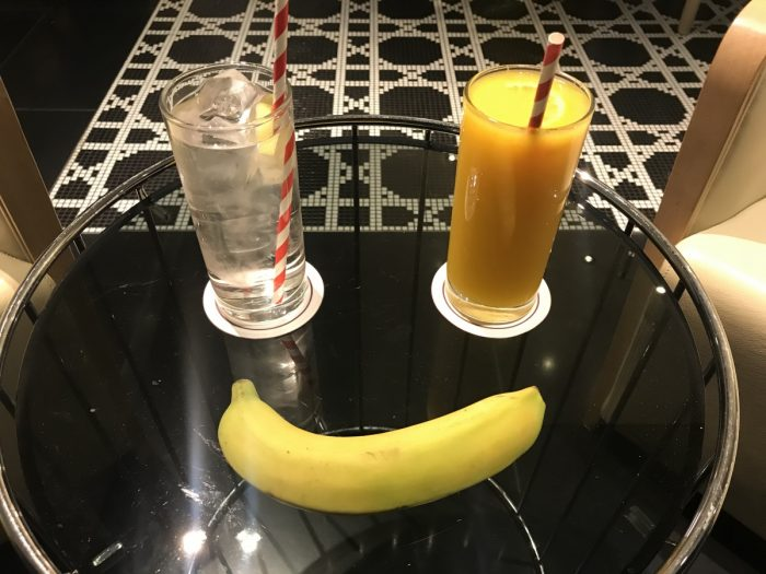 QA Premium Lounge Heathrow Banana