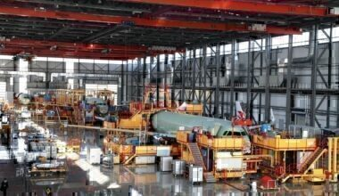 Airbus assembly line in Tianjin China