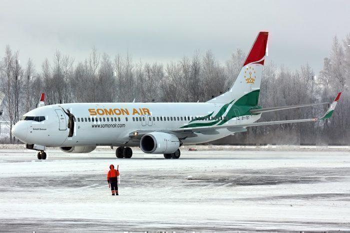 A Somon Air Boeing 737 at St. Petersburg