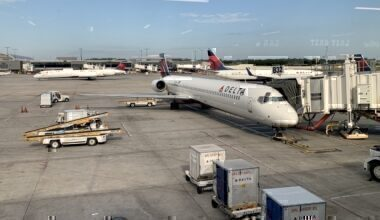 Delta aircraft at the gate