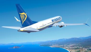 Ryanair aircraft in flight