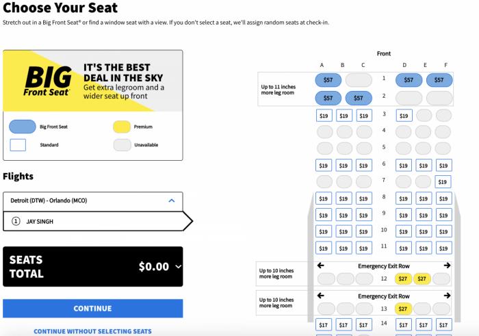Spirit seat selection
