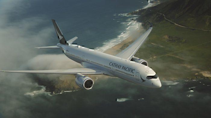 Cathay jet in flight