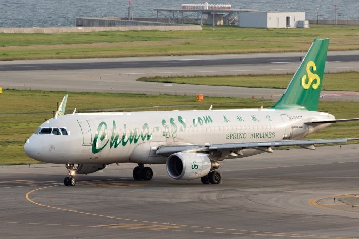 Spring Airlines jet on ground