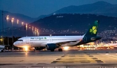 Aer Lingus jet on ground at night