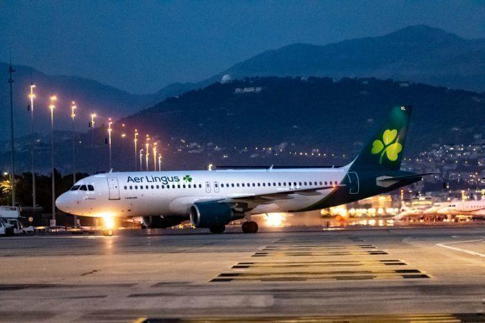Aer Lingus jet on ground at night