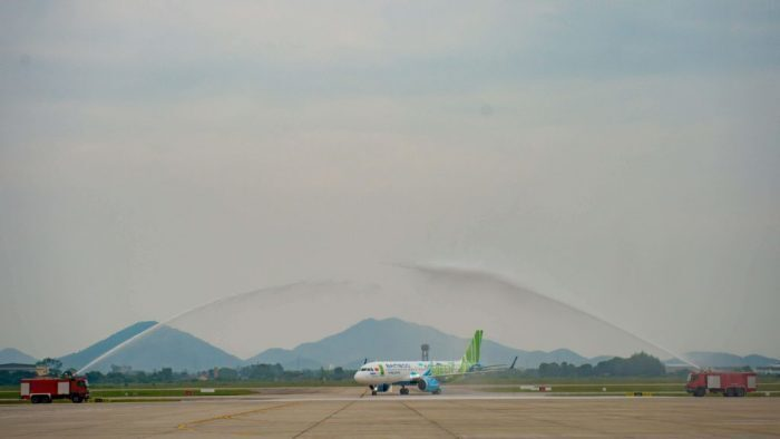 Bamboo Airways A320neo water salute