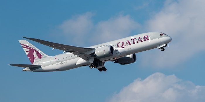 Qatar jet in flight