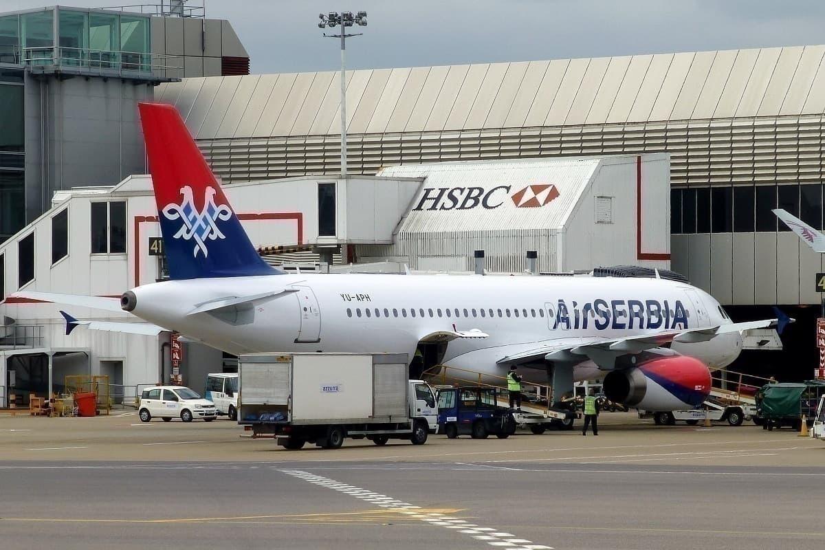 Air Serbia jet at airport gate