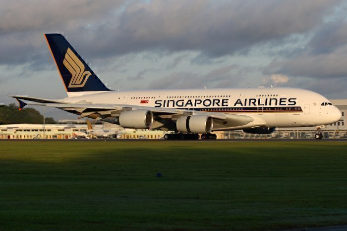 Singapore A380 on taxiway