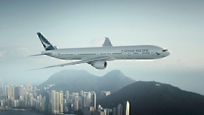 Cathay jet in flight over HK