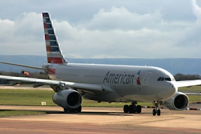 American Airlines jet on taxiway