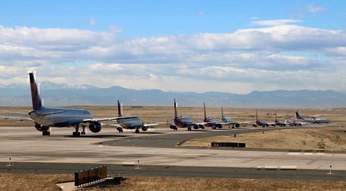 Line up of jets at Denver airport