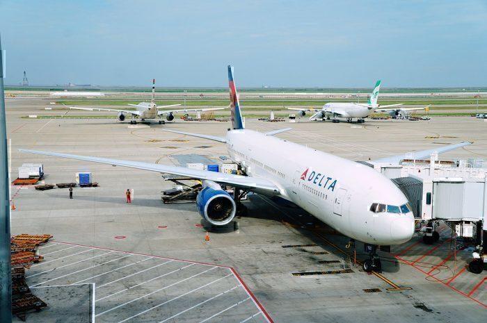 Delta 777-200LR at airport