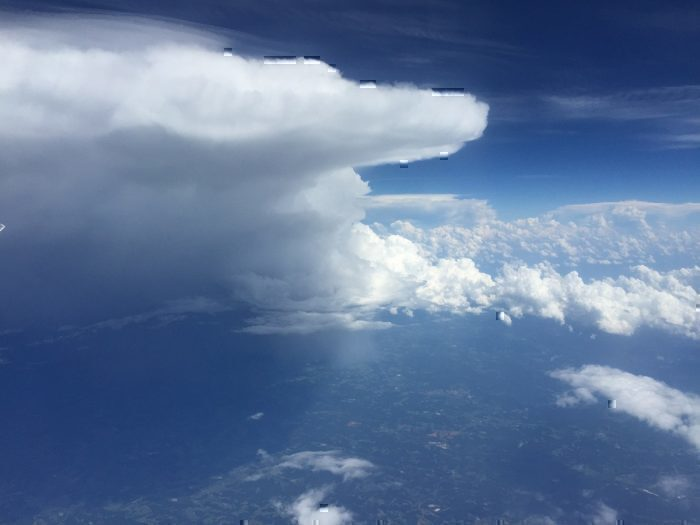 Cumulonimbus clouds seen from plane