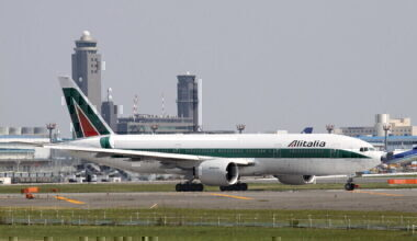 alitalia aircraft on runway