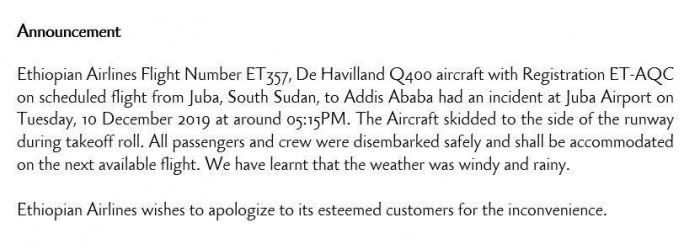 Ethiopian Airlines Dash-8 Careers Off Juba Runway In Bad Weather