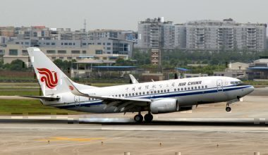 Air China aircfrat takes off from Jiangbei International Airport