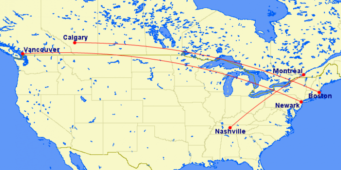 Air Canada, Nashville, Newark, Boston
