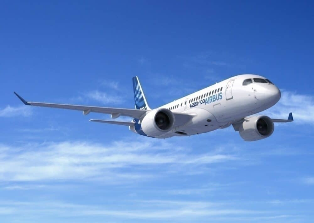 Airbus A220-100 in the sky