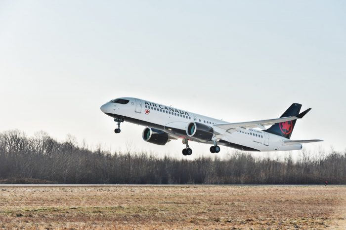 Airbus A220 in AC LIvery