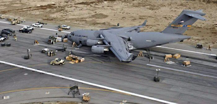 Belly landing plane runway