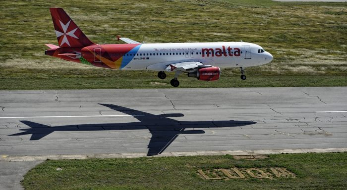 Air Malta Aircraft Over Runway