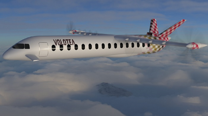DANTE AeroNautical's DAX-19 Hybrid Electric Aircraft in Volotea Livery flying through the clouds