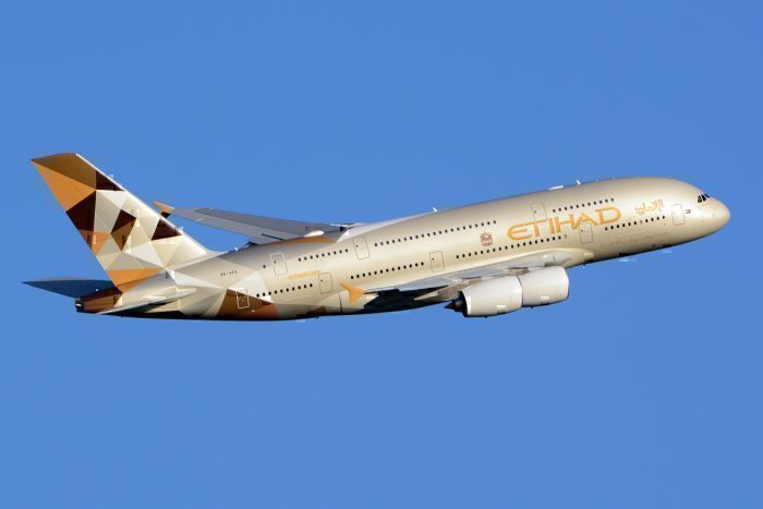 An Etihad A380 shortly after Take-Off from London Heathrow