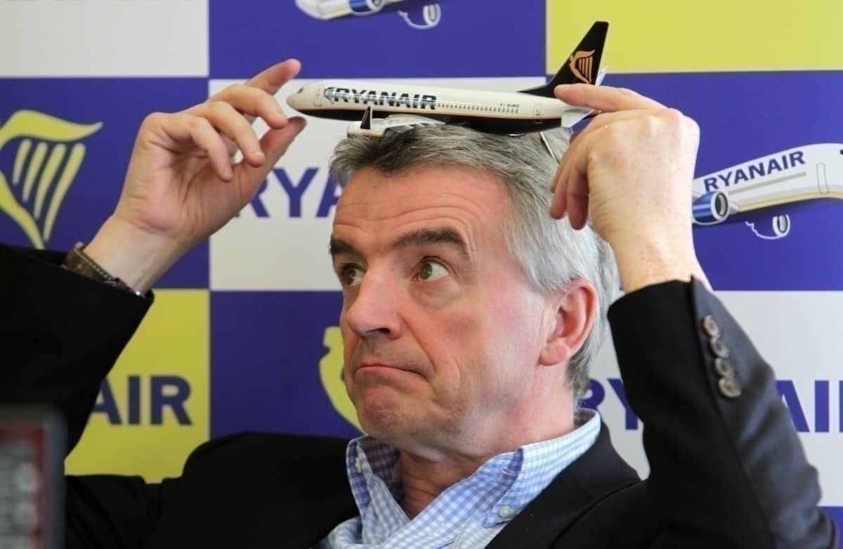 Michael O'Leary with plane on head