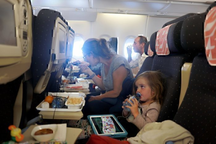 Family together for airline dinner