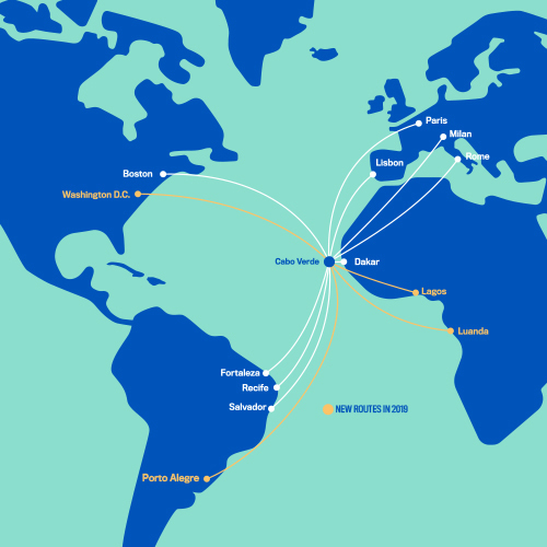 Cabo Verde Airlines, Washington DC, Sal