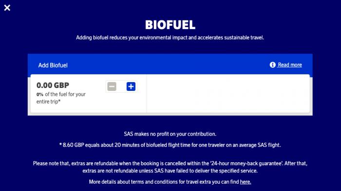 SAS, Biofuel, Carbon Offset