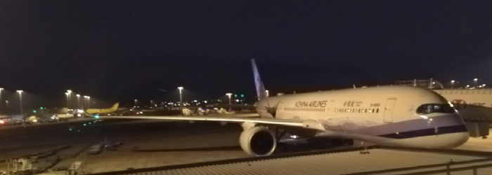 Airbus A350 at the gate in China Airlines Livery