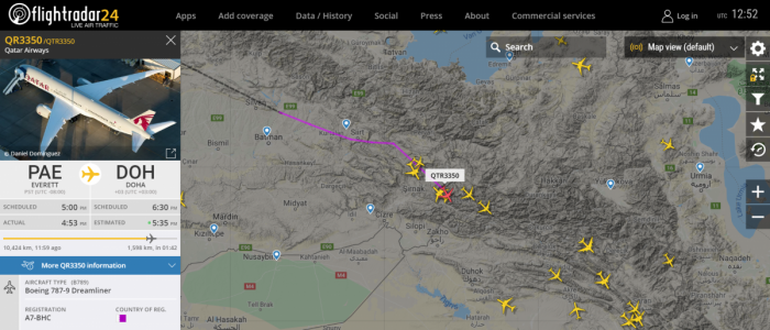 A7-BHC flight path from PAE to Doha