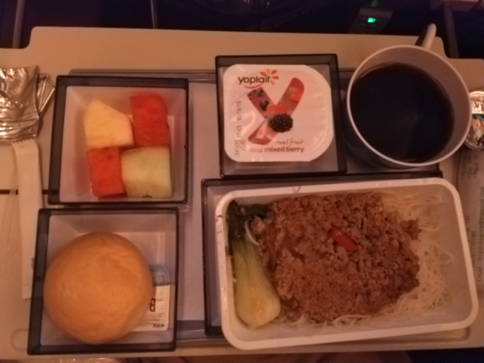 Breakfast meal service aboard China Airlines